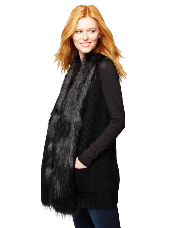 Faux Fur Trim Maternity Vest, Black