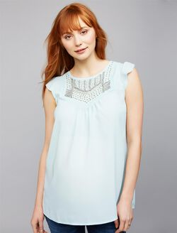 Embellished Flutter Sleeve Maternity Blouse, Iced Turq