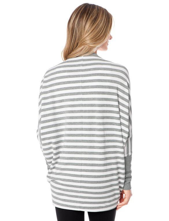 Long Sleeve Cascade Striped Maternity Cardigan- Grey/White Stripe, Heather Grey/White