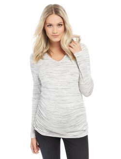 Long Sleeve Maternity Tee- Spacedye, Grey Spacedye