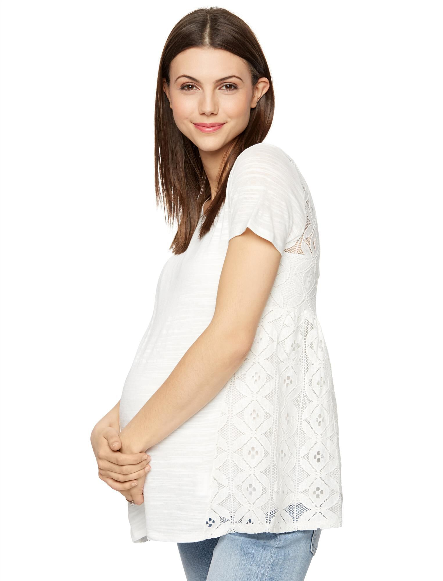 Lace Back Maternity Top
