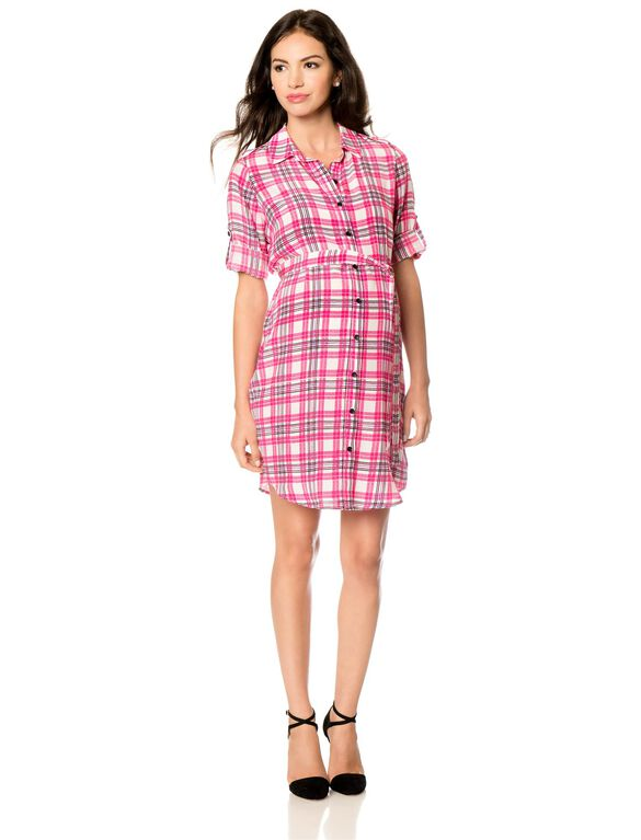 Button Front Maternity Dress, Pink Plaid