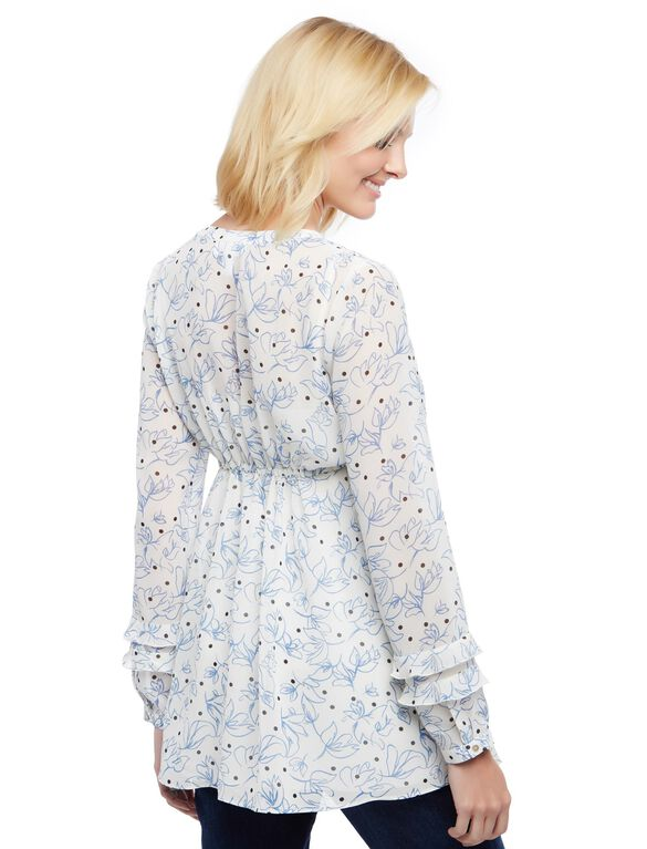 Side Tie Ruffle Sleeve Maternity Tunic, Egret Blue Floral