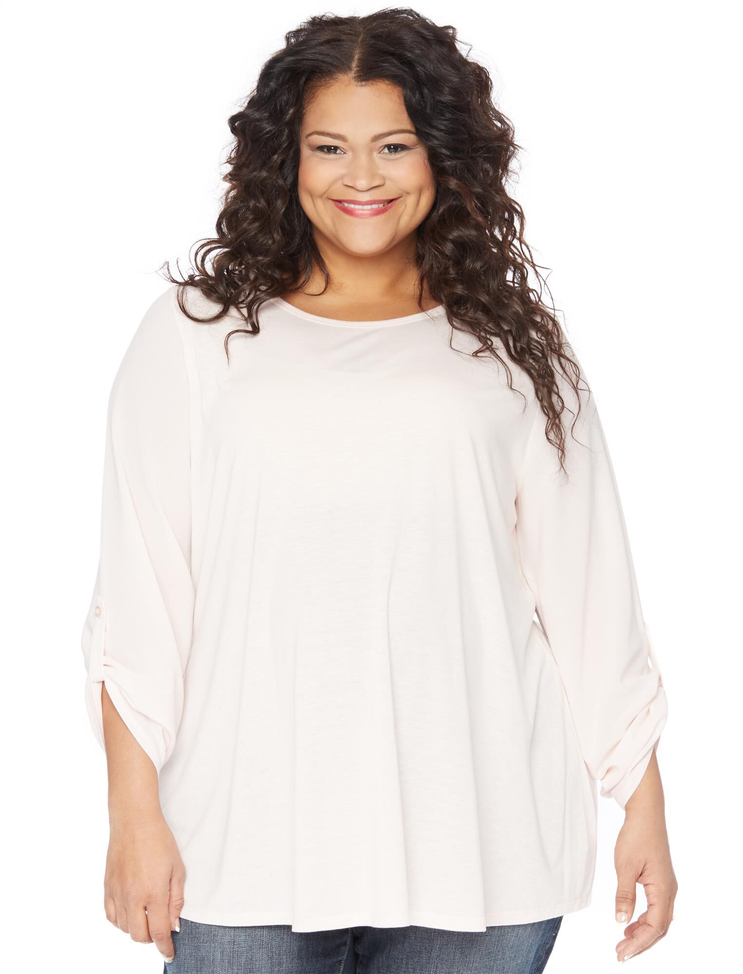 Plus Size Knit Woven Combo Maternity Top.