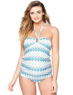 Hardware Detail Maternity Tankini Swimsuit, Blue Ikat Print