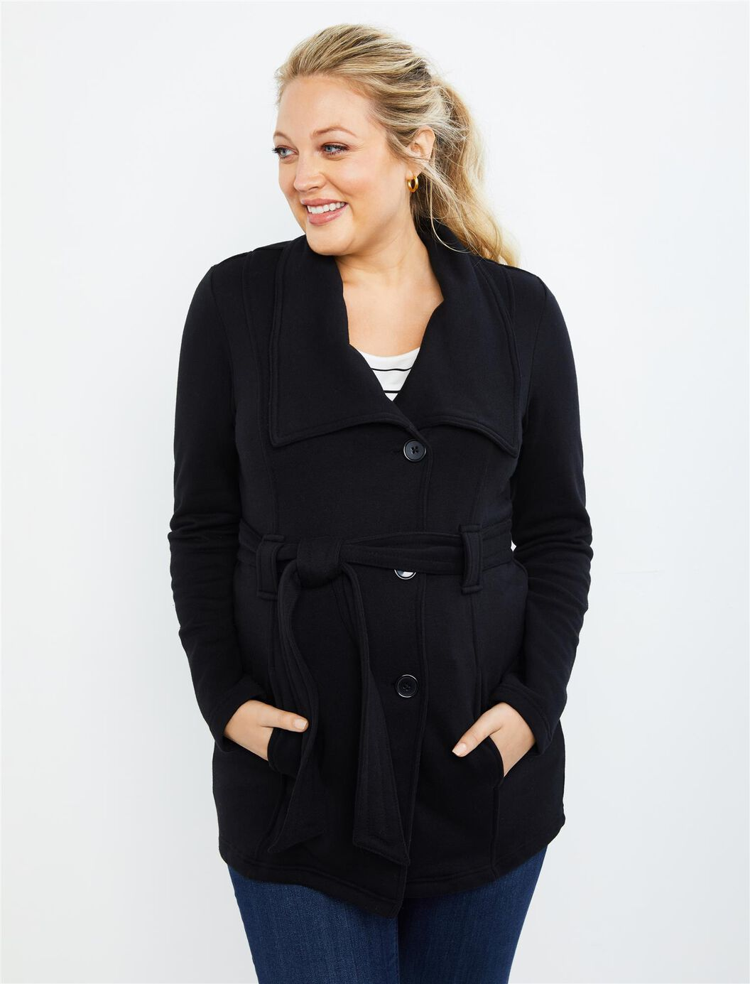 Removable Waist Tie French Terry Maternity Jacket at Motherhood Maternity in Victor, NY | Tuggl
