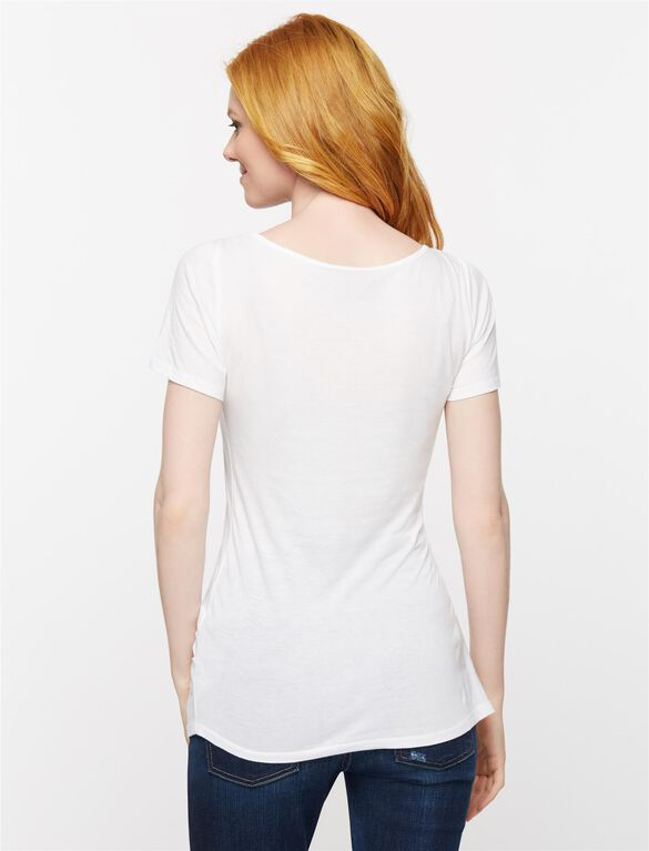 Knot Front Maternity T Shirt, Soft White
