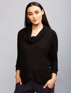 Cowl Lift Up Nursing Top- Black, Black