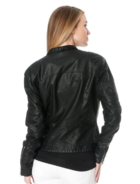 Blank NYC Zipper Detail Faux Leather Maternity Jacket, Black
