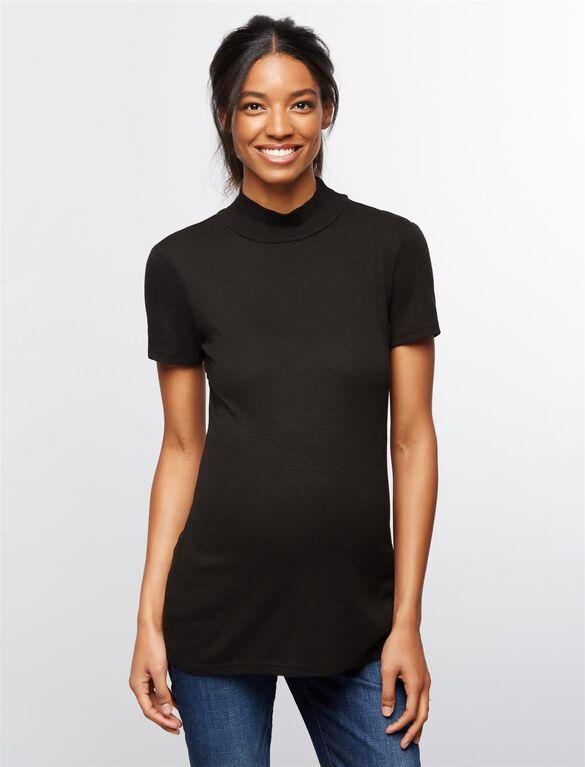 Splendid Back Cutout Turtleneck Maternity Top, Black