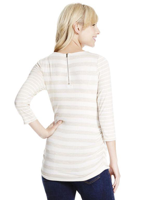 Jessica Simpson Lightweight Maternity T Shirt, Oatmeal Stripe
