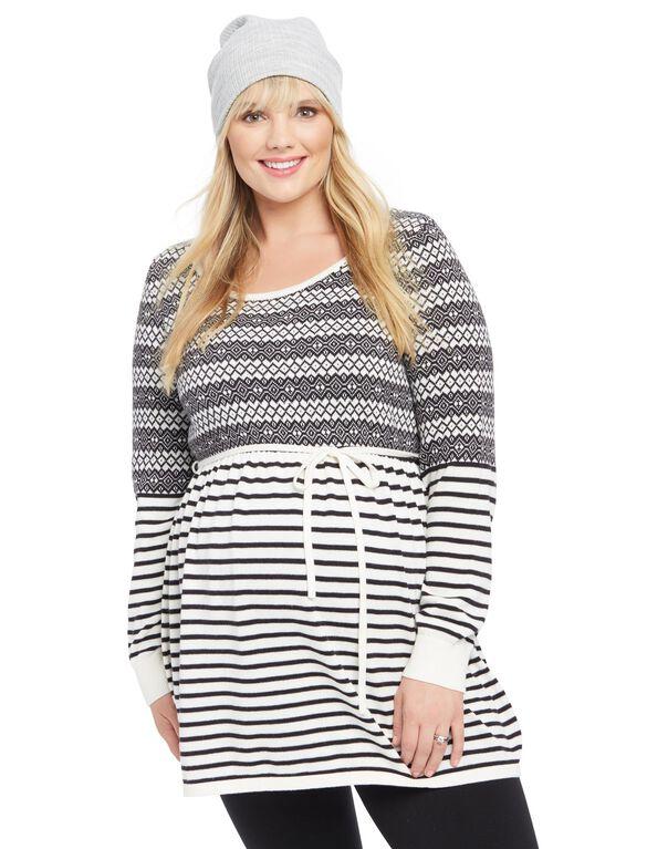 Plus Size Fairisle Babydoll Maternity Sweater, Black/White Stripe