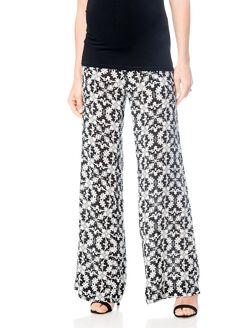 Pull On Style Challis Wide Leg Maternity Pants, Black/Off White