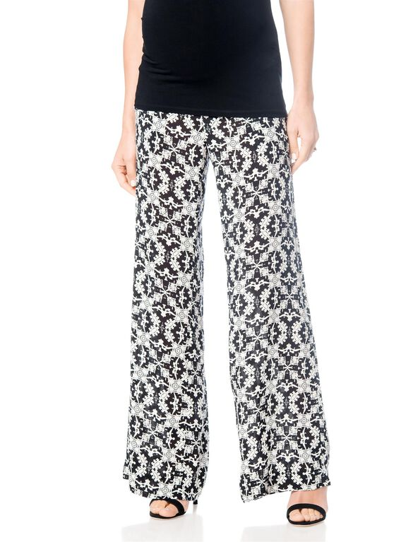 Pull On Style Challis Wide Leg Maternity Pants, Black/Off White