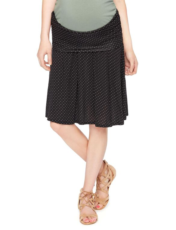 Fold Over Belly Dot Print Relaxed Fit Maternity Skirt, Black/White Dot Prnt