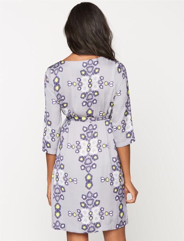 Madderson London Tie Waist Maternity Dress, Multi Print