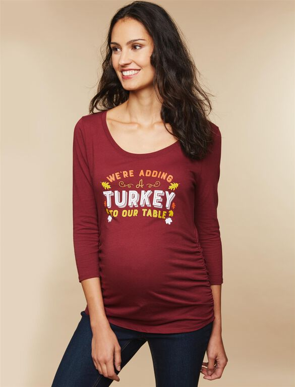 Adding A Turkey Maternity Tee, Wine