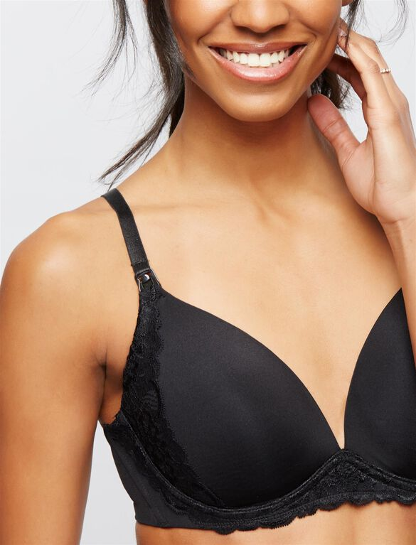 Wireless Lace Trimmed Nursing Bra, Black