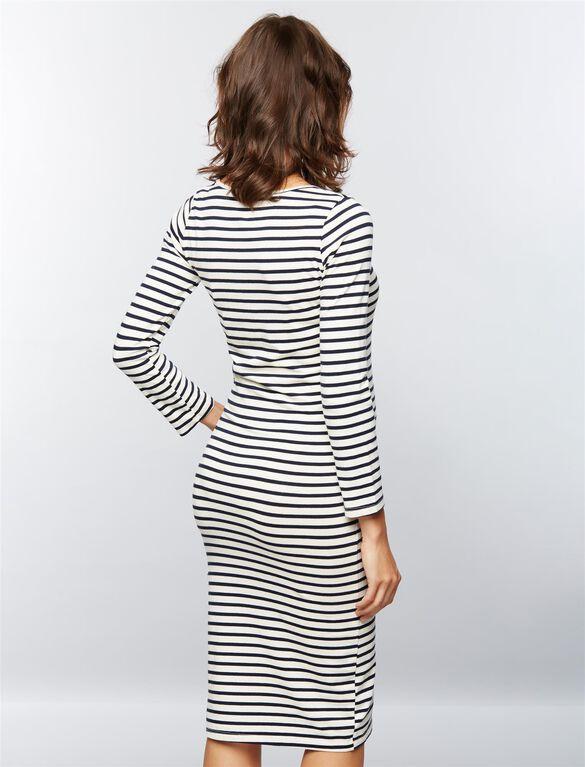 Monrow Striped Maternity Midi Dress, Strpe Natural Blk