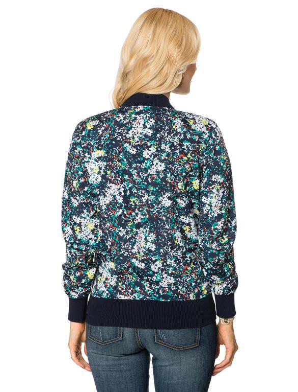 Zip Front Crepe De Chine Maternity Jacket, Floral