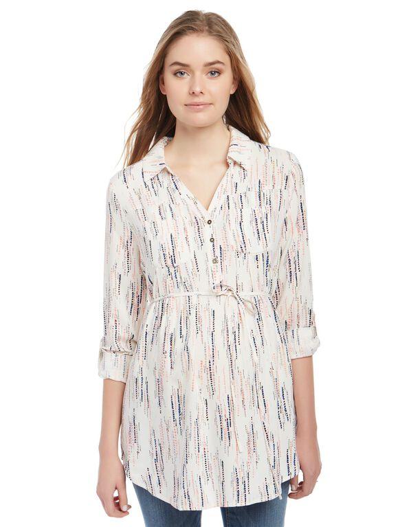 Front Pocket Maternity Shirt- Print, Drip Dot