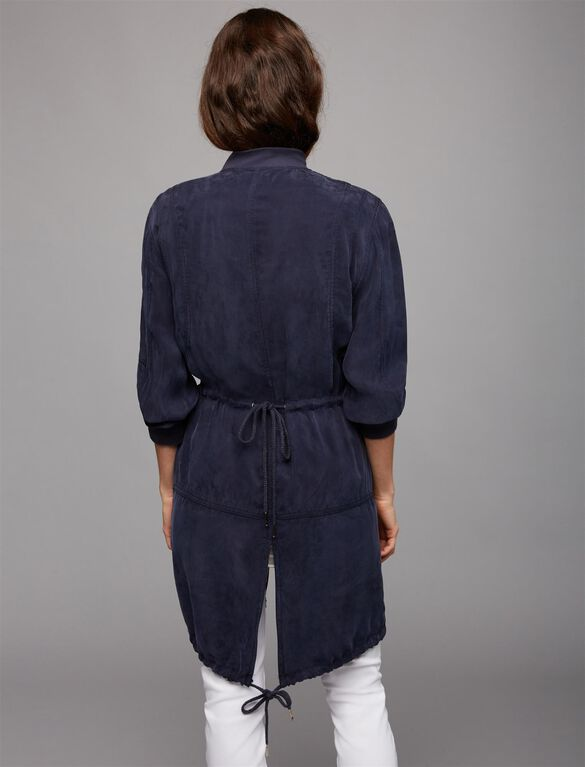 Web Only Blank Nyc Zip Front Cotton Woven Maternity Jacket, Navy