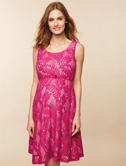 Lace Maternity Dress, FUCHSIA