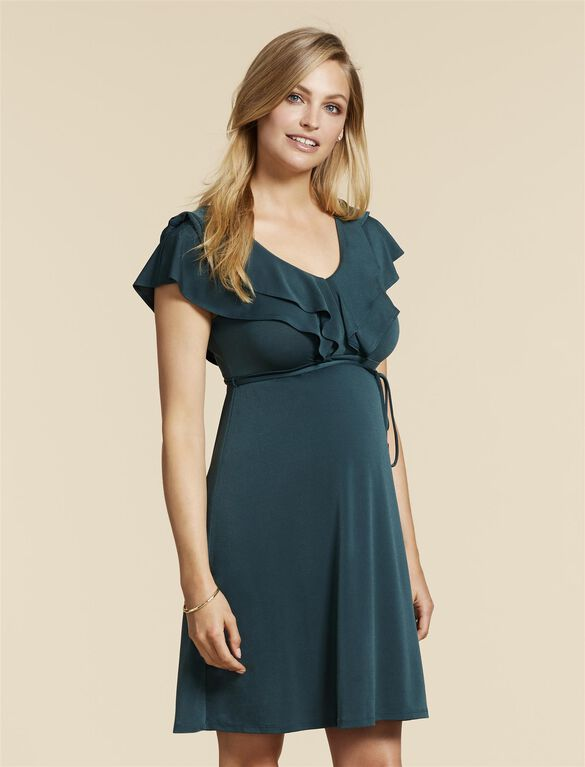 Jessica Simpson Flutter Sleeve Maternity Dress, Green