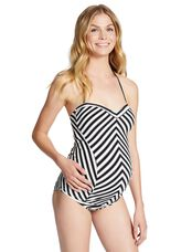 Jessica Simpson Striped Maternity Tankini Swimsuit, Black/White