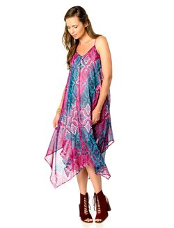Wendy Bellissimo Hanky Hem Maternity Dress, Pink/Blue Print