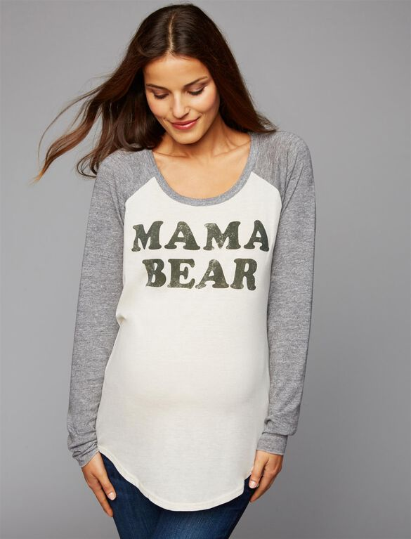 Chaser Mama Bear Maternity Tee, Grey
