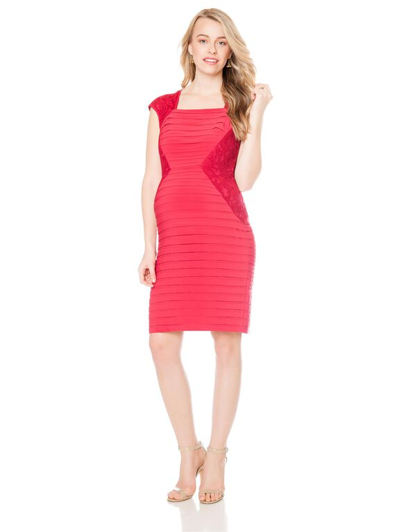 Adrianna Papell Lace Inset Maternity Dress, Flame Red