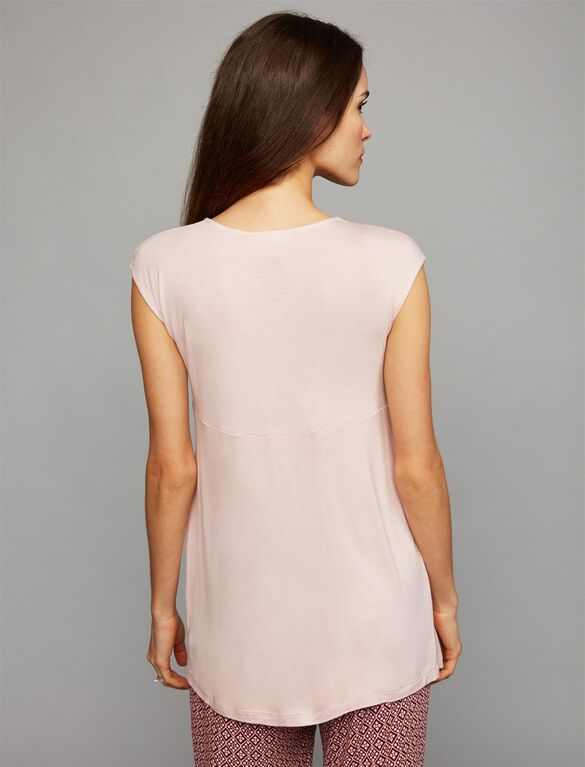 Twist Front Nursing Sleep Top, Blush