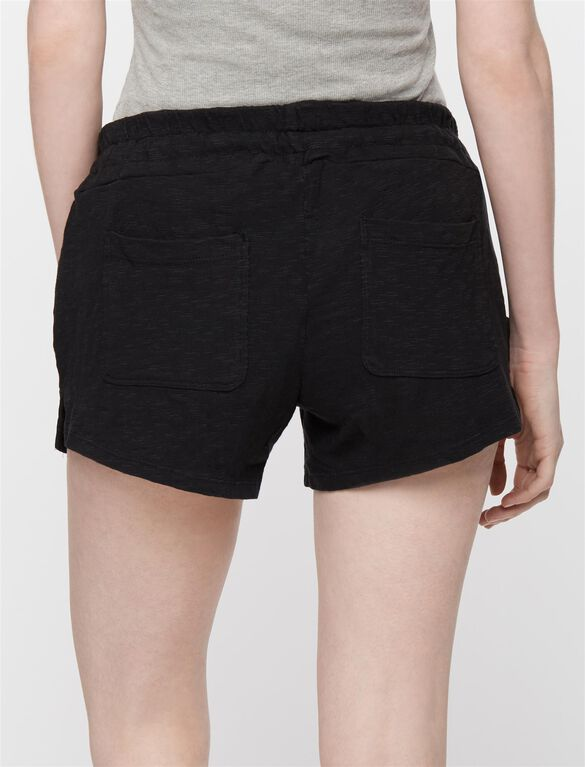 Under Belly Drawstring Maternity Shorts, Black