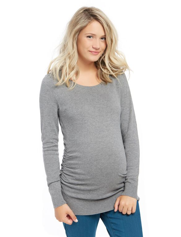 Side Ruched Maternity Sweater- Solid, Grey