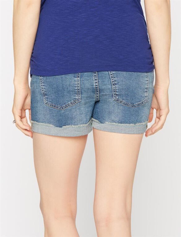 Luxe Essentials Secret Fit Belly Destructed Maternity Shorts, Med Wash