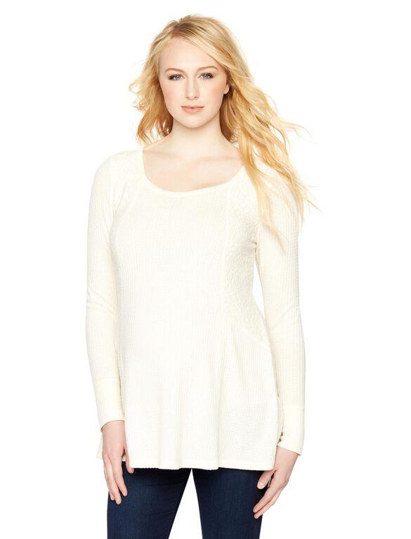 Lace Trim Maternity Tunic, Marshmellow