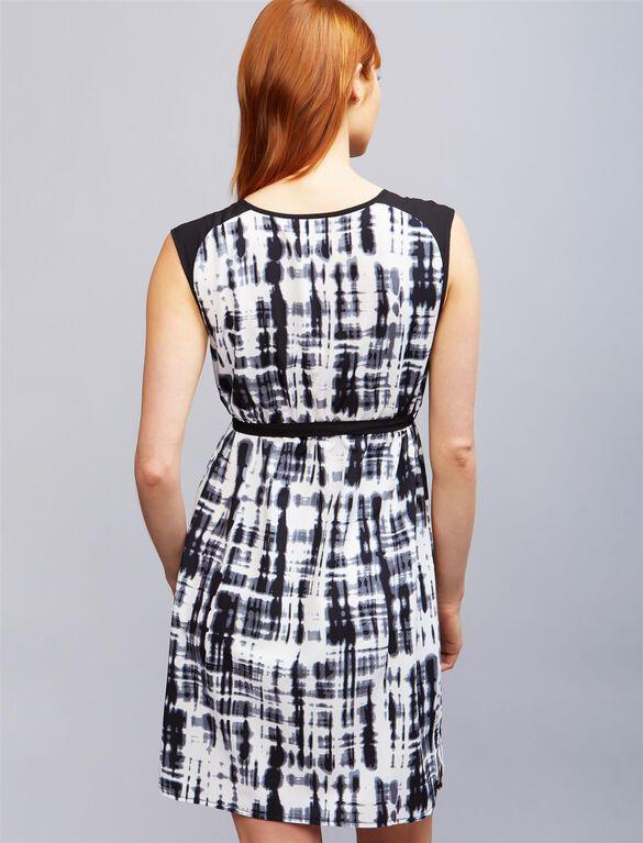 Ripe Printed Tie Detail Maternity Dress, Wht/Blk Print