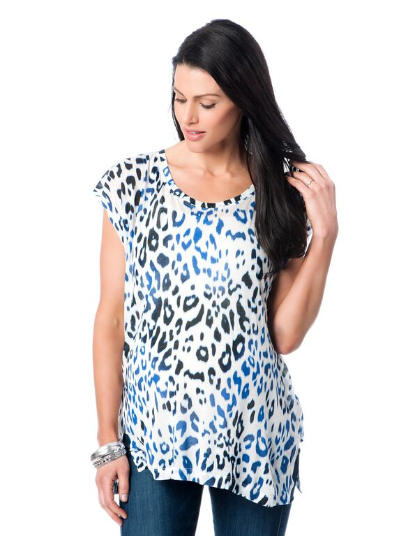 Majestic Bias Cut Maternity Top, Blue Leopard