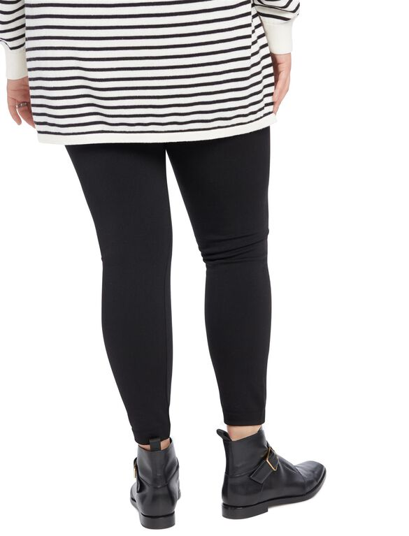 Plus Size Under Belly Fleece Maternity Leggings, Core Black
