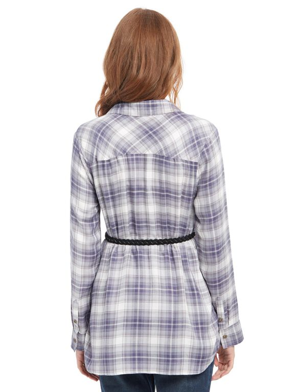 Belted Maternity Shirt, Blue Plaid