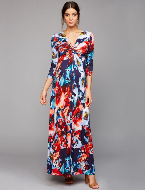 V Neck Knot Front Maternity Maxi Dress, Red Floral