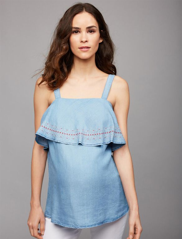 Luxe Essentials Chambray Flounce Maternity Tank, Chambray