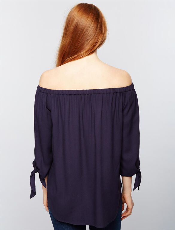 Isabella Oliver Caiti Off The Shoulder Maternity Top- Navy, Navy