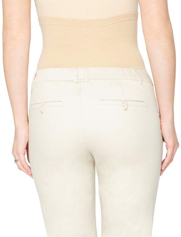 Petite Secret Fit Belly Sateen Straight Leg Maternity Pants, Oat