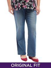 Plus Size Secret Fit Belly Baby Boot Maternity Jeans, Medium Wash
