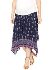 Secret Fit Belly Hanky Hem Maternity Skirt, Navy Border Print