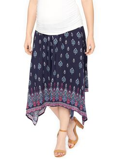 Secret Fit Belly Hanky Hem Maternity Skirt, Navy Border Print