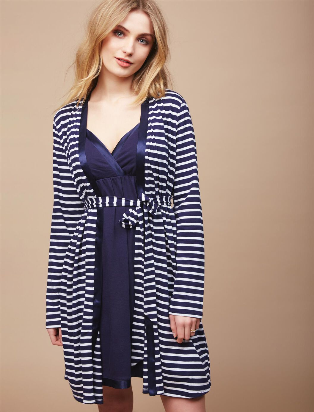 Satin Trim Maternity Nightgown And Robe Set at Motherhood Maternity in Victor, NY | Tuggl