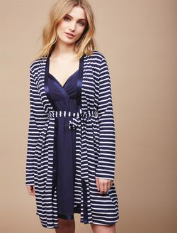 Satin Trim Maternity Nightgown And Robe Set, Navy Stripe